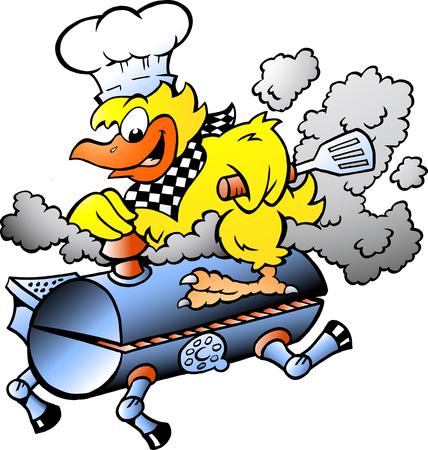 Ilustración vectorial de dibujos animados de un pollo amarillo montando un barril de parrilla de barbacoa