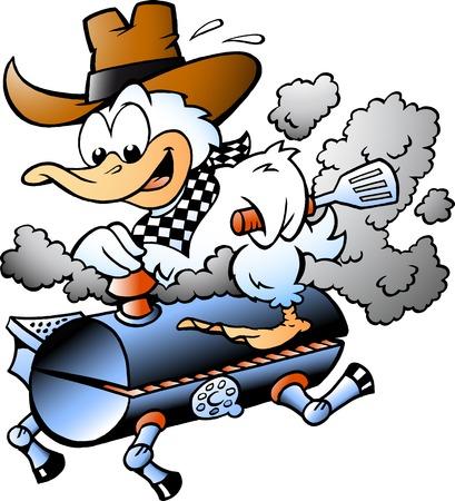 Fumetto Illustrazione vettoriale di un'anatra che cavalca un barile per barbecue