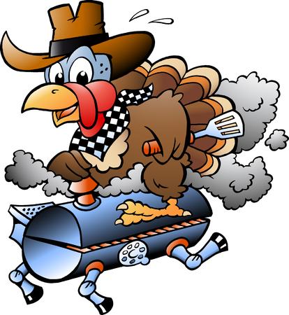 Cartoon Vector illustration of an Thanksgiving Turkey riding a BBQ grill barrel