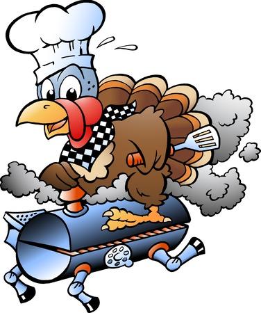 Cartone animato, vettore, illustrazione, di, uno, ringraziamento, tacchino, chef, a cavallo, uno, barbecue grill barile