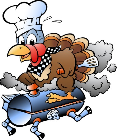 Cartoon Vector illustration of an Thanksgiving Turkey Chef riding a BBQ grill barrel Ilustração