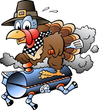 Cartoon Vector illustration of an Thanksgiving Turkey riding a BBQ grill barrel Ilustracja