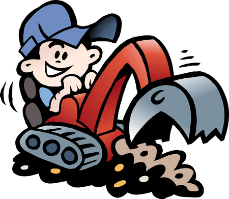 Cartoon Vector illustration of a Handyman threre working with his mini excavator