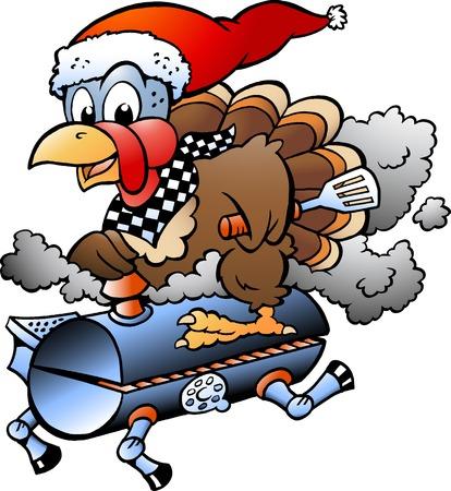 Cartoon illustrazione vettoriale di un tacchino del Ringraziamento di Natale in sella a una griglia per barbecue barile