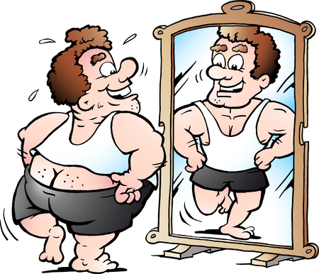 Cartoon Vector illustration of a fat Man as he thinks he looks Çizim