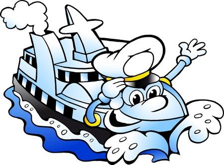 Vector Cartoon illustration of a Happy Cruise Ship Captain Mascot