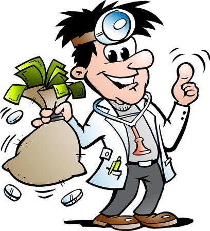 Vector Cartoon illustration of a Happy Doctor holding a Moneybag Çizim
