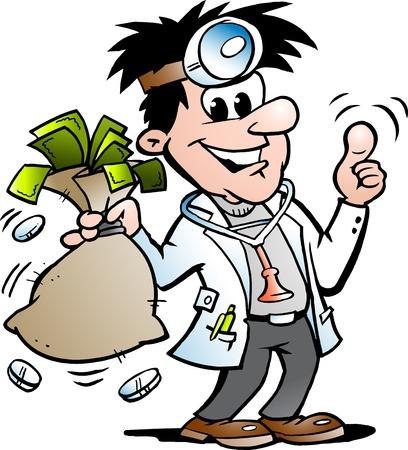 Vector Cartoon illustration of a Happy Doctor holding a Moneybag Vectores