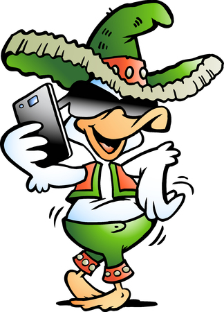 Vector Cartoon illustration of a Happy Mexican Duck talking in Smartphone Çizim