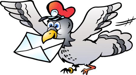 Vector Cartoon illustrazione di un piccione postale che vola con una lettera a Vettoriali