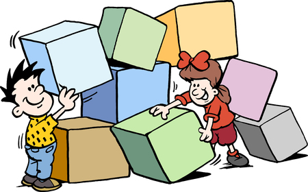 Cartoon Vector illustration of happy Children building with big Bricks Çizim
