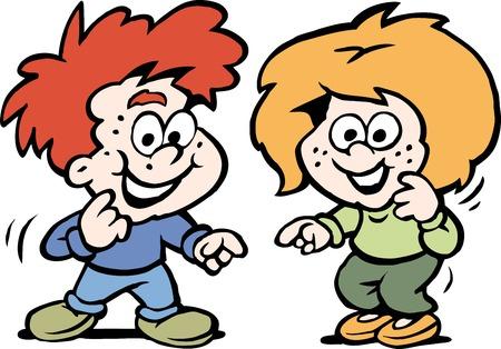 Cartoon Vector illustration of a tow Happy Children