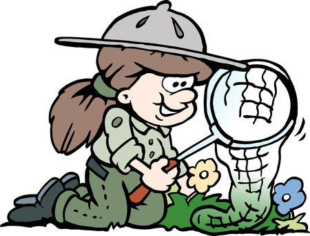 Cartoon Vector illustration of a little happy Scout Girl Vectores