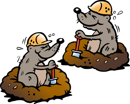 Cartoon Vector illustration of two Mole digging Holes in the Ground