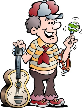 Vector Cartoon illustration of a Happy Guitar Music Player