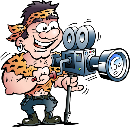 Vector Cartoon illustration of a Cool Action Hero Movie Star