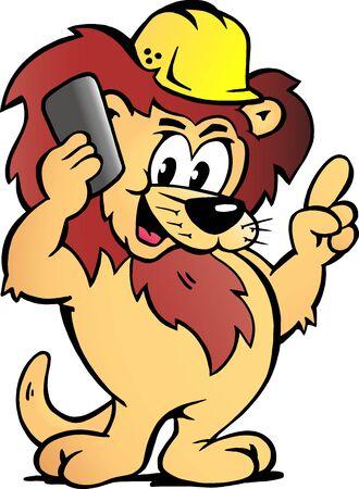 Vector Cartoon illustration of a Lion Worker talk Business Vectores