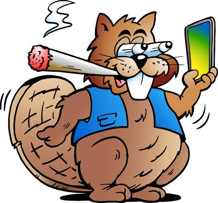 Vector Cartoon illustration of a Cool Beaver smoking a Joint