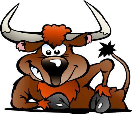 Vector Cartoon illustration of a Angry Bull