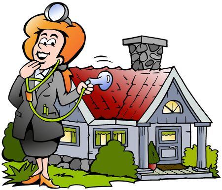 Vector Cartoon illustration of a House Real Estate Agent