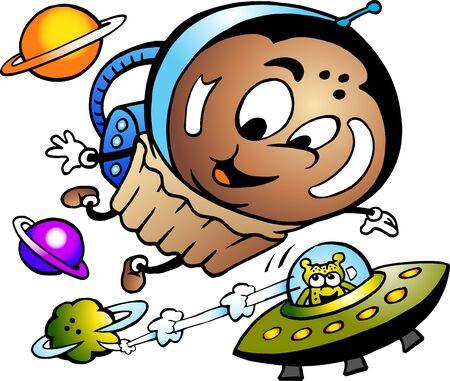 Vector Cartoon illustration of a Happy Muffin Astronaut Vectores