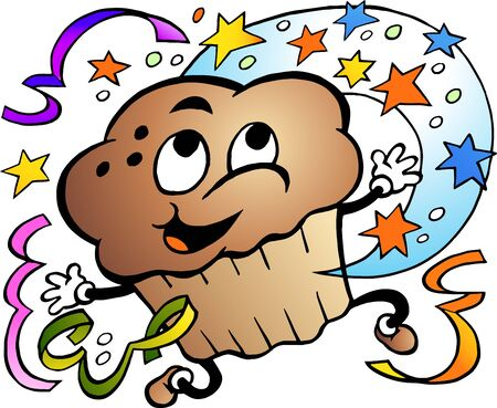 Vector Cartoon illustration of a Happy Party Muffin
