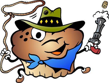 Vector Cartoon illustration of a Muffin Cowboy