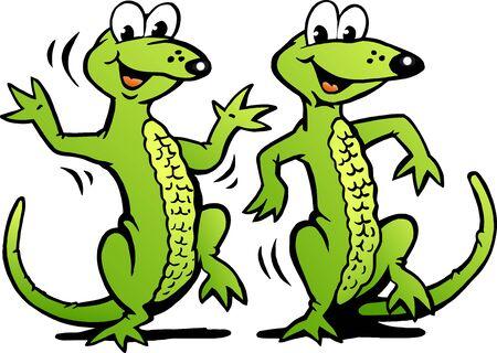 Vector Cartoon illustration of a Two Happy Dancing Lizard