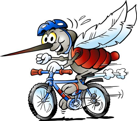 Vector Cartoon illustration of a Happy Mosquito on a Bike