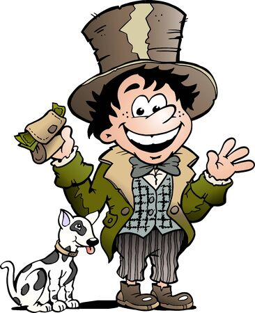 Vector Cartoon illustration of a Happy Oliver Twist