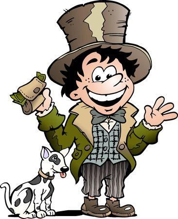 Vector Cartoon illustration of a Happy Oliver Twist