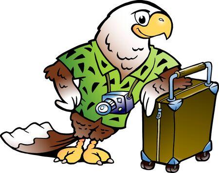 Vector Cartoon illustration of a Traveling Tourist Eagle Bird