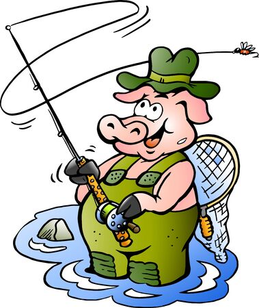 Vector Cartoon illustration of a happy Fly Rod Pig Fisher