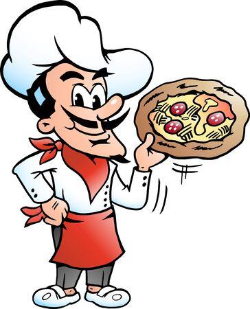 Vector Cartoon illustration of a happy Italian Pizza Chef Baker