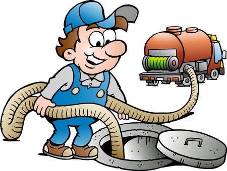 Vector Cartoon illustration of a Happy Sewer Master & Vacuum Truck