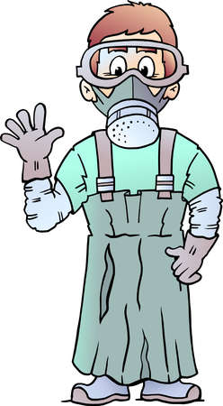 Vector Cartoon illustration of an happy Social Professional Worker
