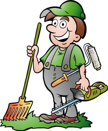 Vector Cartoon illustration of an happy Gardener Vectores