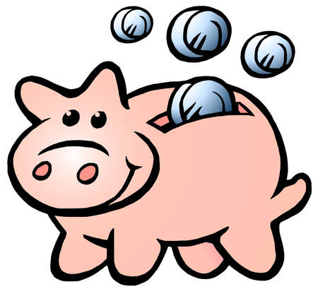 Vector Cartoon illustration of a Happy Money Piggy Bank
