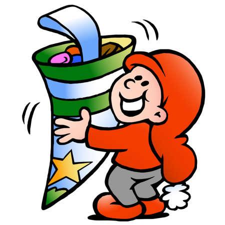 Vector Cartoon illustration of an happy Christmas Elf holding a Cornet