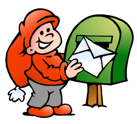 Vector Cartoon illustration of an happy Elf posting a Letter Vectores