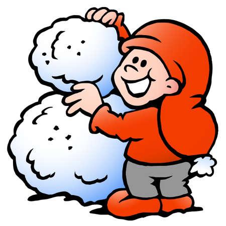 Vector Cartoon illustration of an happy Elf building Snowball