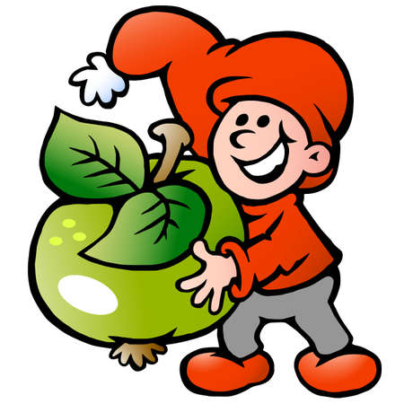 Vector Cartoon illustration of an happy Christmas Elf holding a Apple