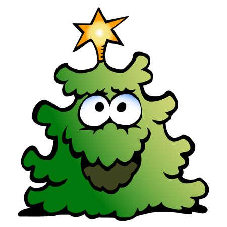 Vector Cartoon illustration of an happy Christmas Green Tree Vectores
