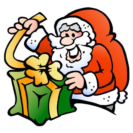 Vector Cartoon illustration of an happy Santa Claus wraps a Gift Vectores