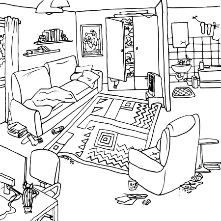 Illustration of bachelors apartment with clutter