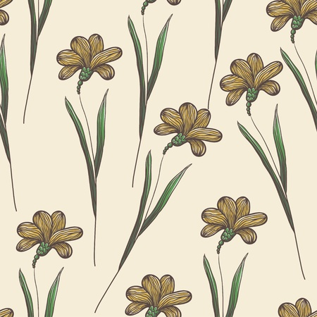 Beautiful vintage seamless floral background Illustration