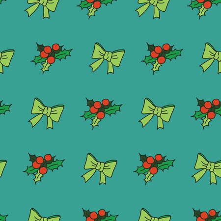 Nice seamless pattern with snowflakes and christmas tree decorations   New Year theme seamless pattern with bows and mistletoe Illustration