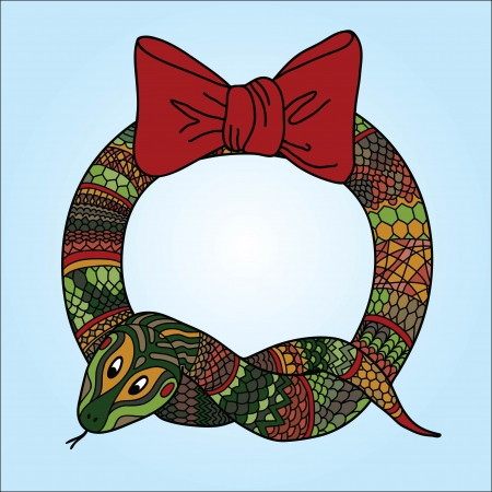 New year holidays hand drawn illustration with wreath for the year of the snake