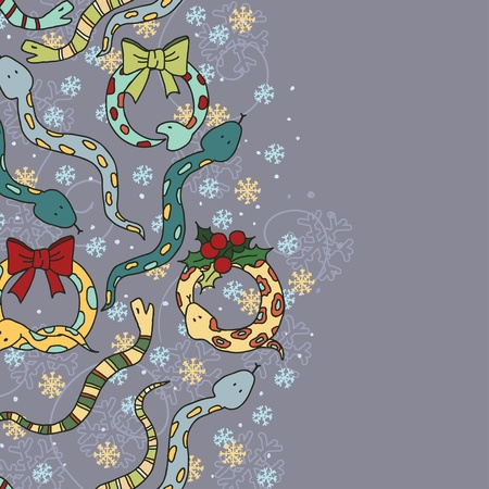 Background with cute snakes, mistletoe and snowflakes for New Year of the snake  Vector