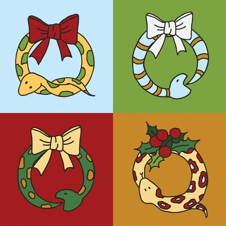 Seamless background with snakes, mistletoe and snowflakes Illustration